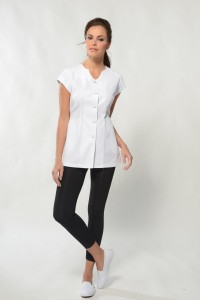 Lina – White Spa Uniform Top