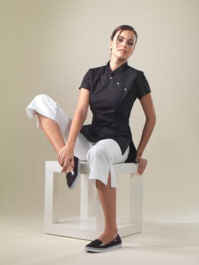 China - Schwarzes Spa-Uniform-Top