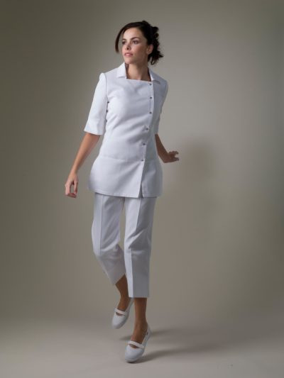 Paris – White Spa Uniform Top