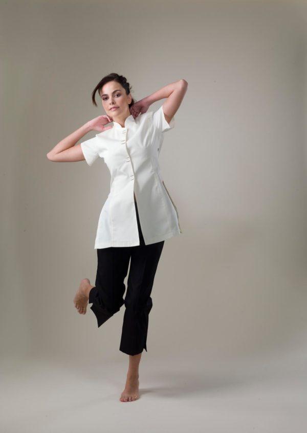 Zoe – White Spa Uniform Top