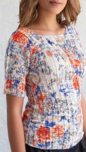Fashion pleated tee-shirt orange